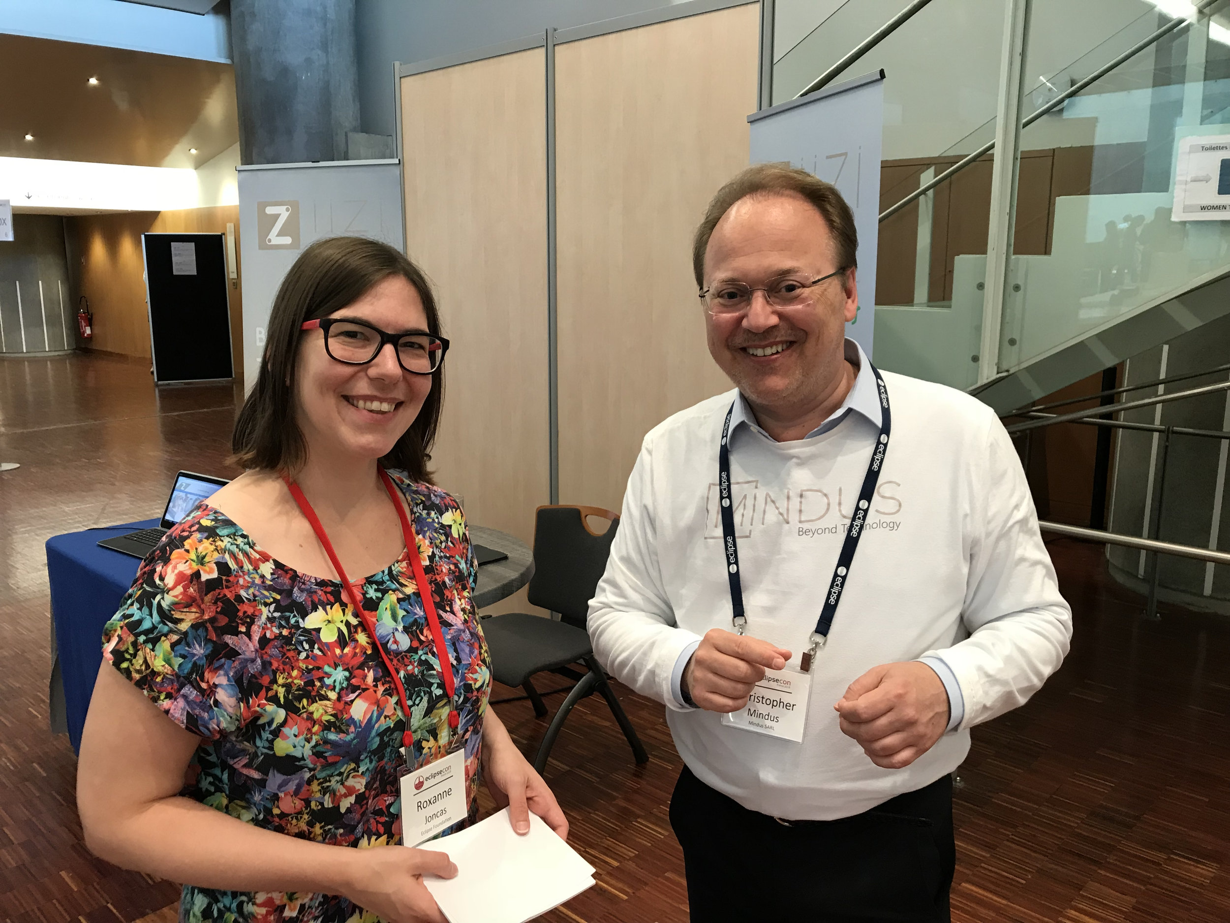 EclipseCon's Roxanne Joncas with Christopher Mindus