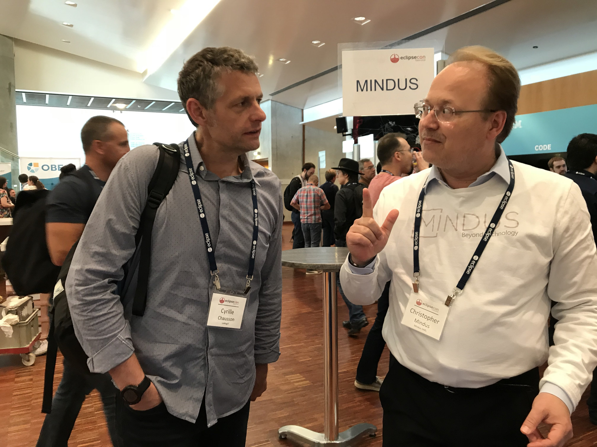 EclipseCon being covered by LeMagIT journalist Cyrille Chausson with Christopher Mindus