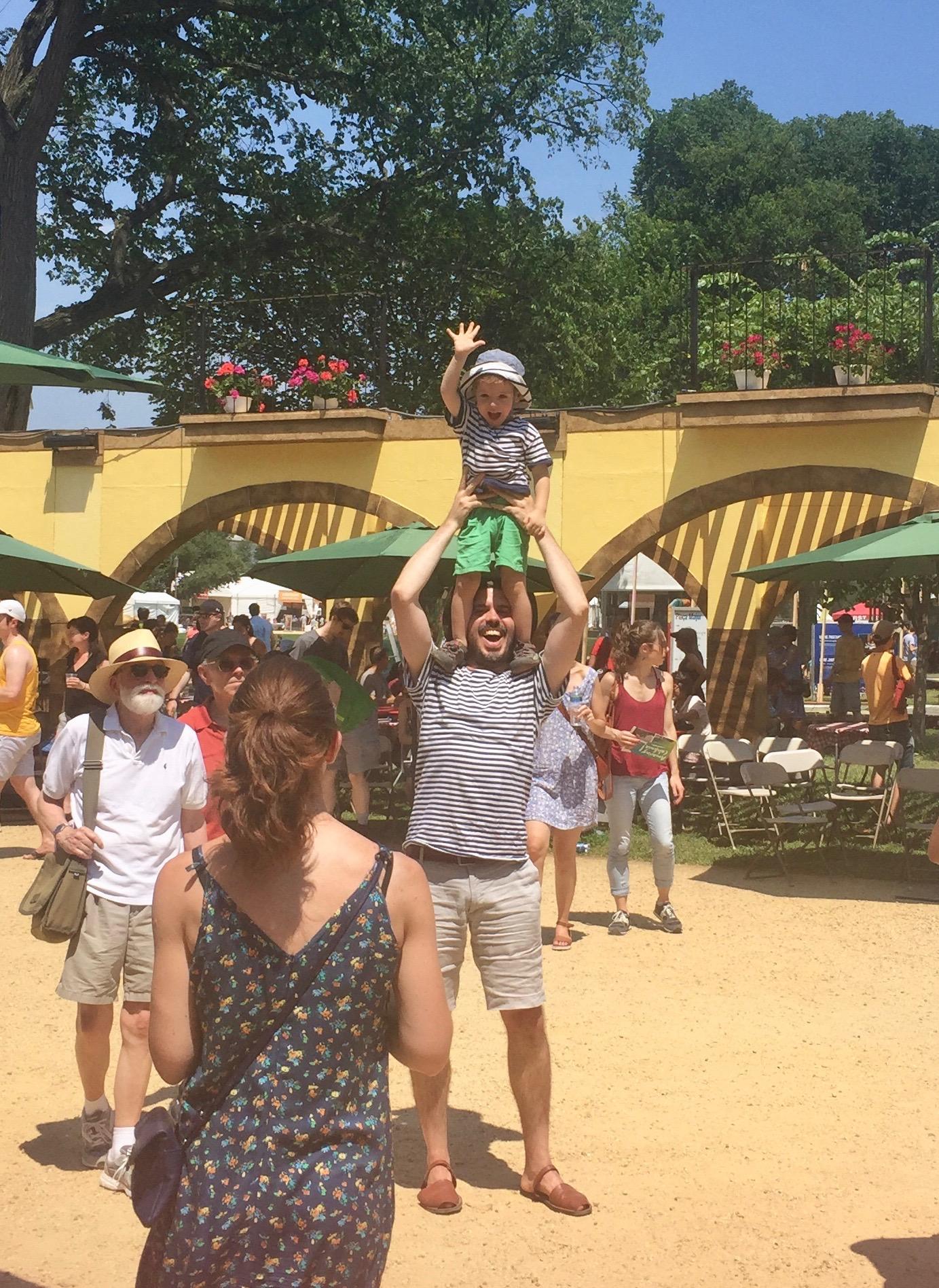 A super cute family recreating their own mini human tower -