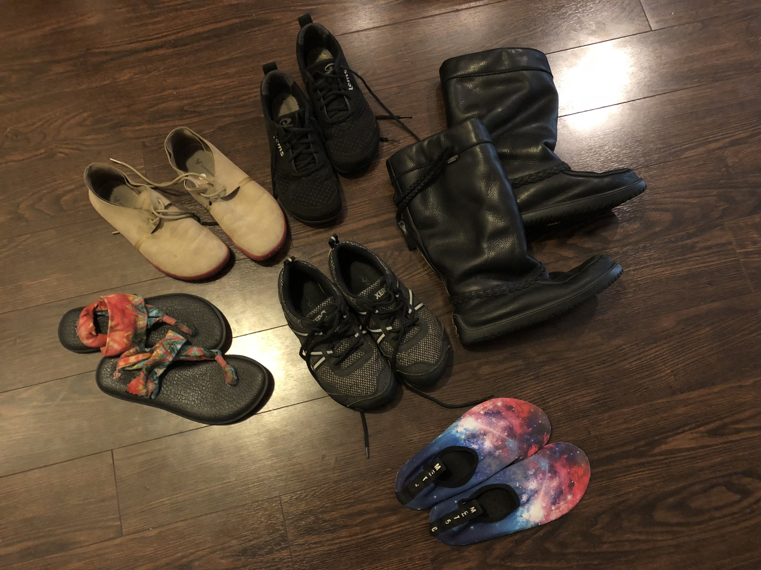 Photo of all my shoes together!
