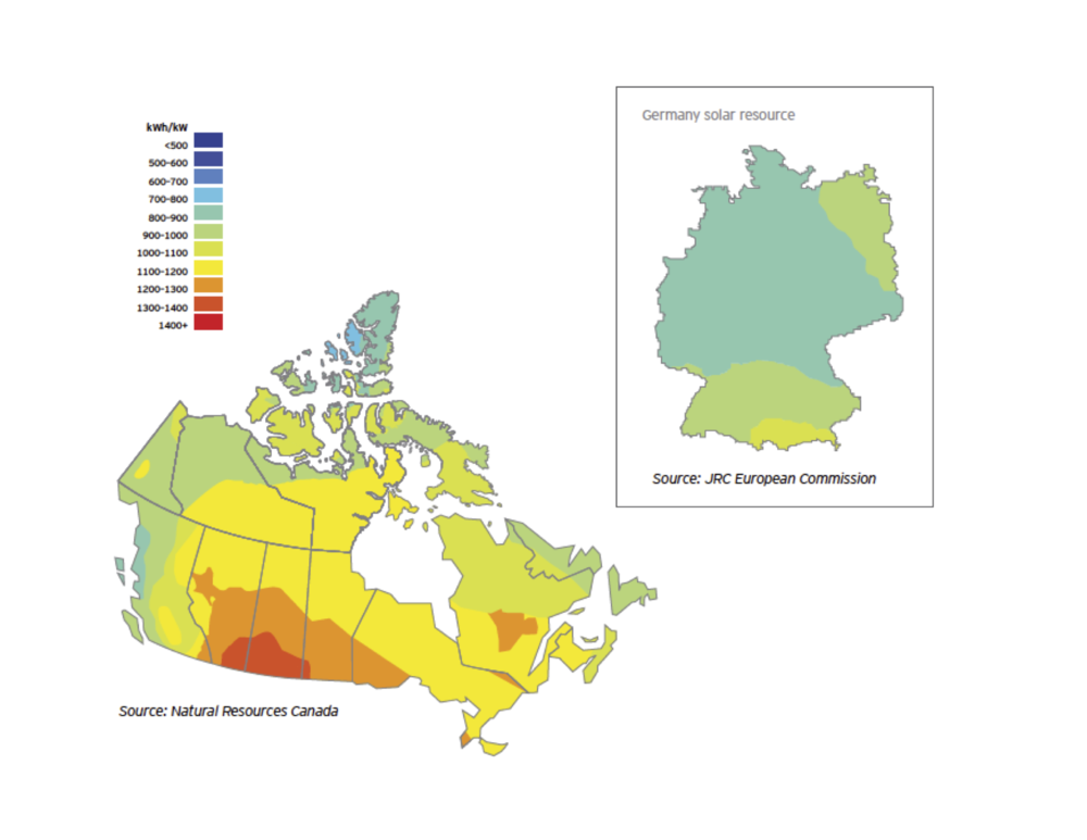 This map compares Canada's potential solar resource with that of Germany's, a global leader in solar power generation.