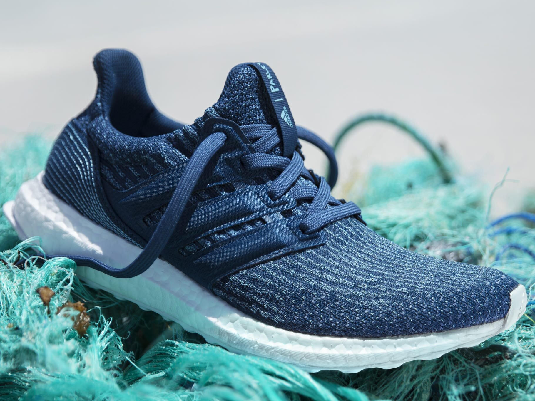 The UltraBoost sneaker from Adidas' Parley ocean plastic collection.  Adidas