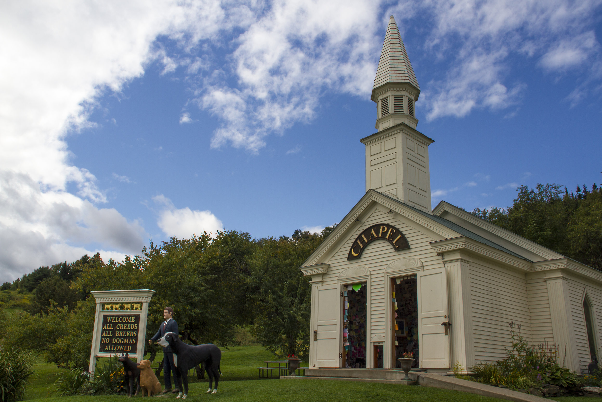 The Chapel stands on the 150 acre property in the Northeast Kingdom of Vermont, where people can connect with nature and their dogs.