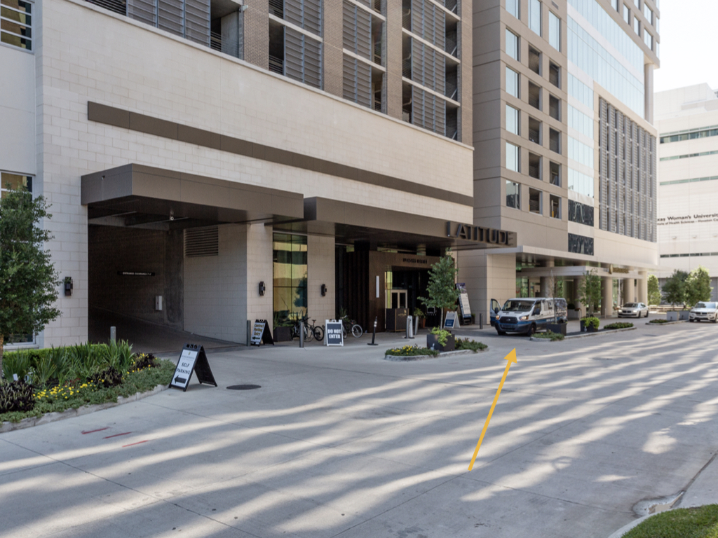 This is the main entrance to the Latitude building, where you'll find our Locale apartments.
