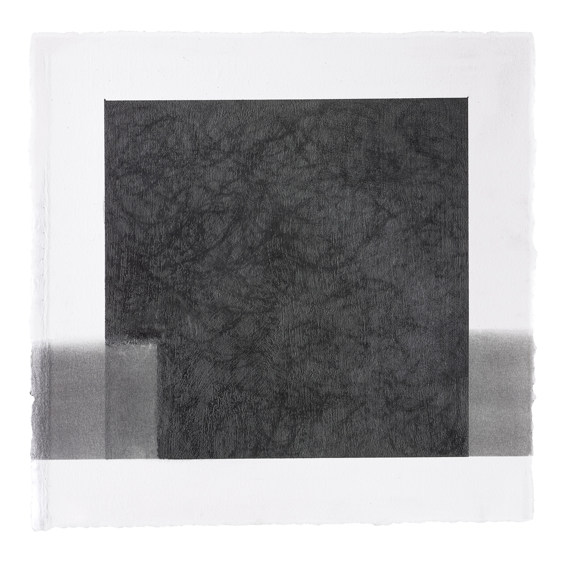 """ML24 peach pit soot and graphite on paper, 10.5"""" by 10.5"""", 2015"""