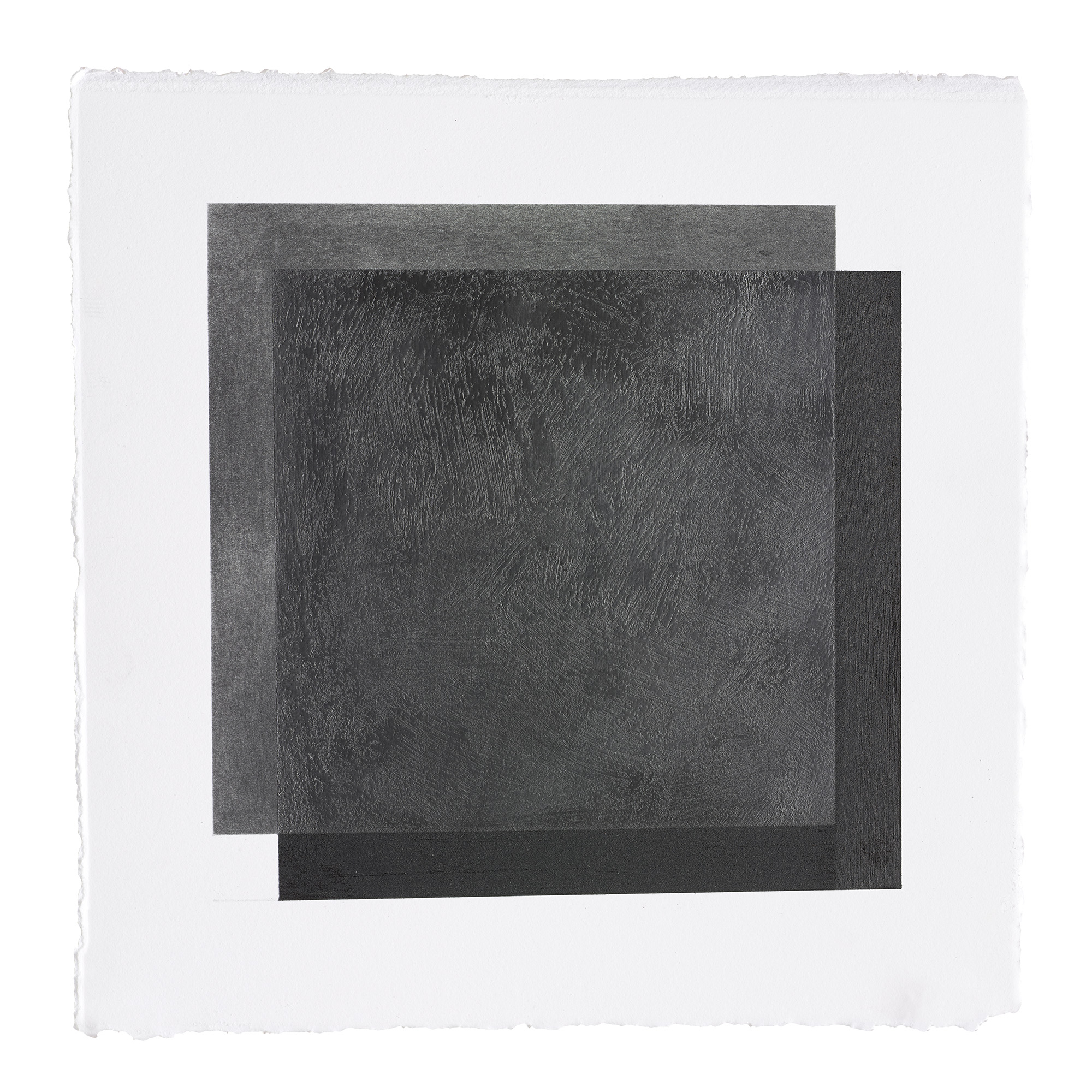 """ML34 peach pit soot and graphite on paper, 10.5"""" by 10.5"""", 2015"""