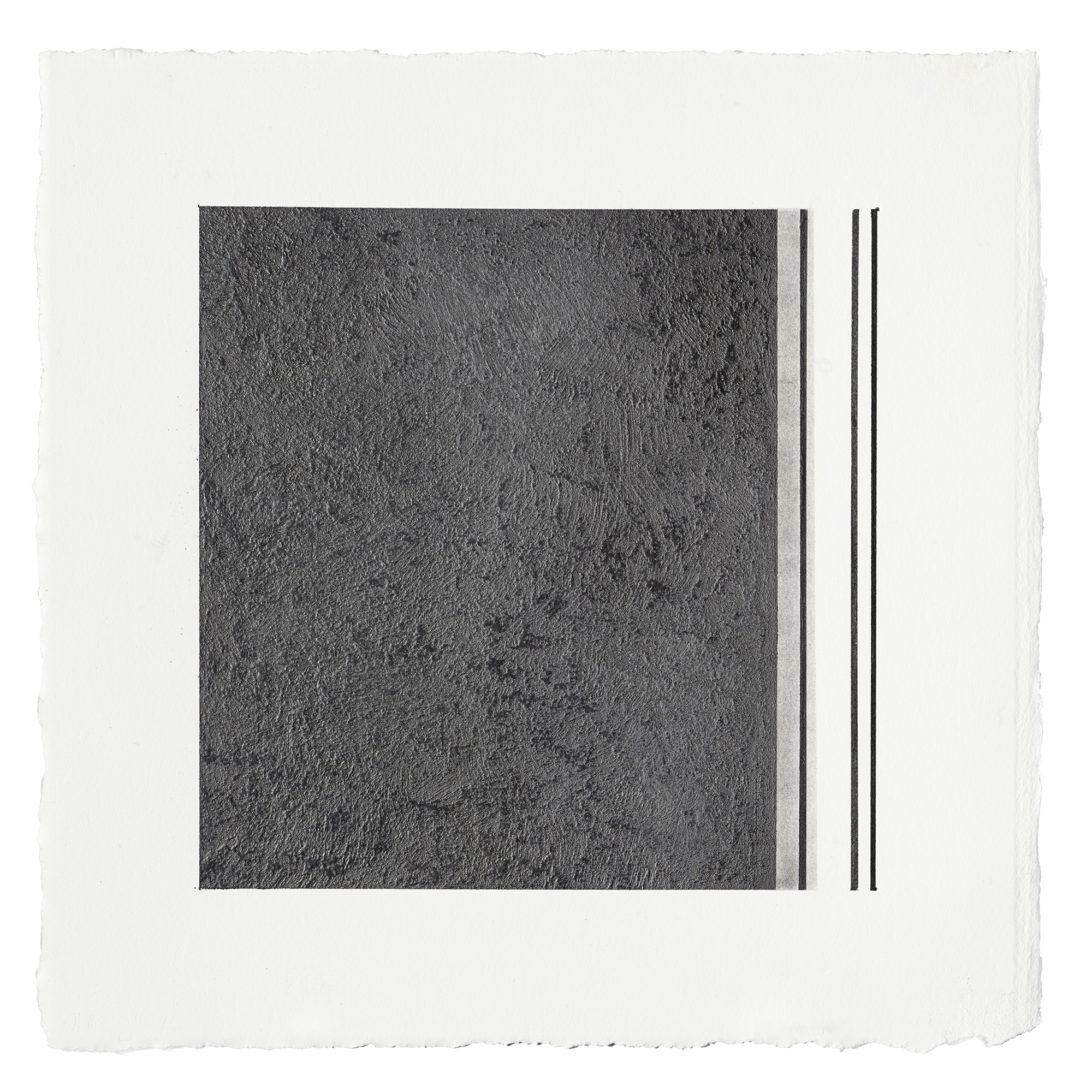 """ML42 peach pit soot and graphite on paper, 10.5"""" by 10.5"""", 2015"""
