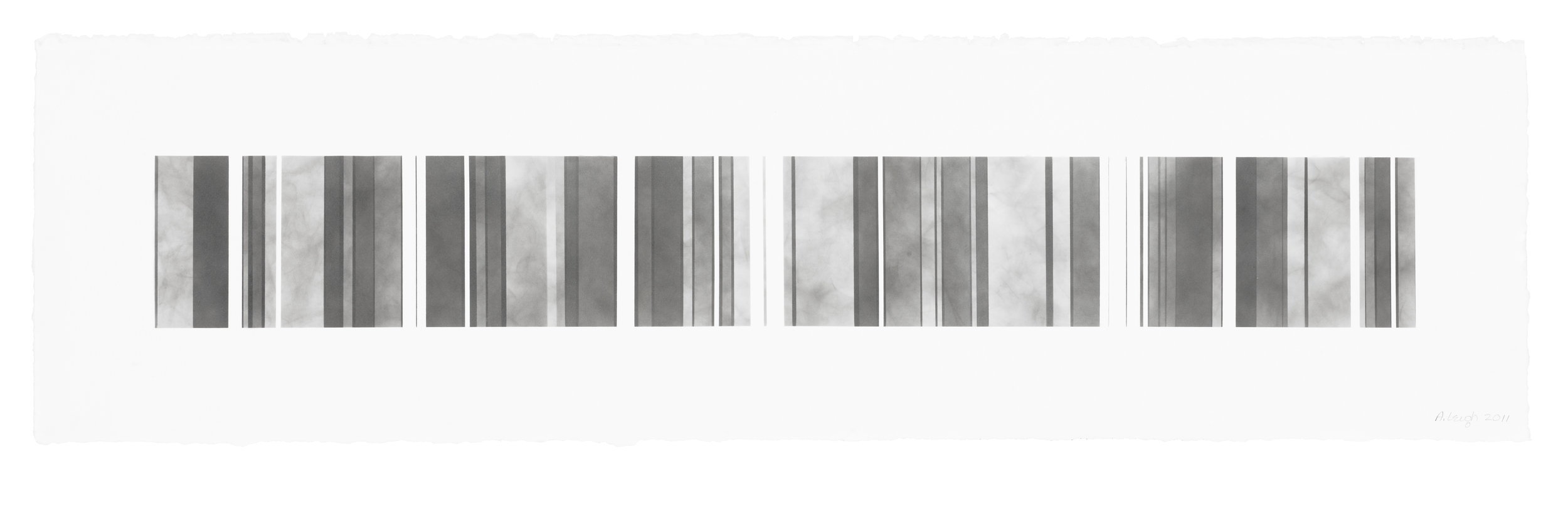 Barcode Series B 16, smoke on  paper, 11 by 40.5 inches, 2013