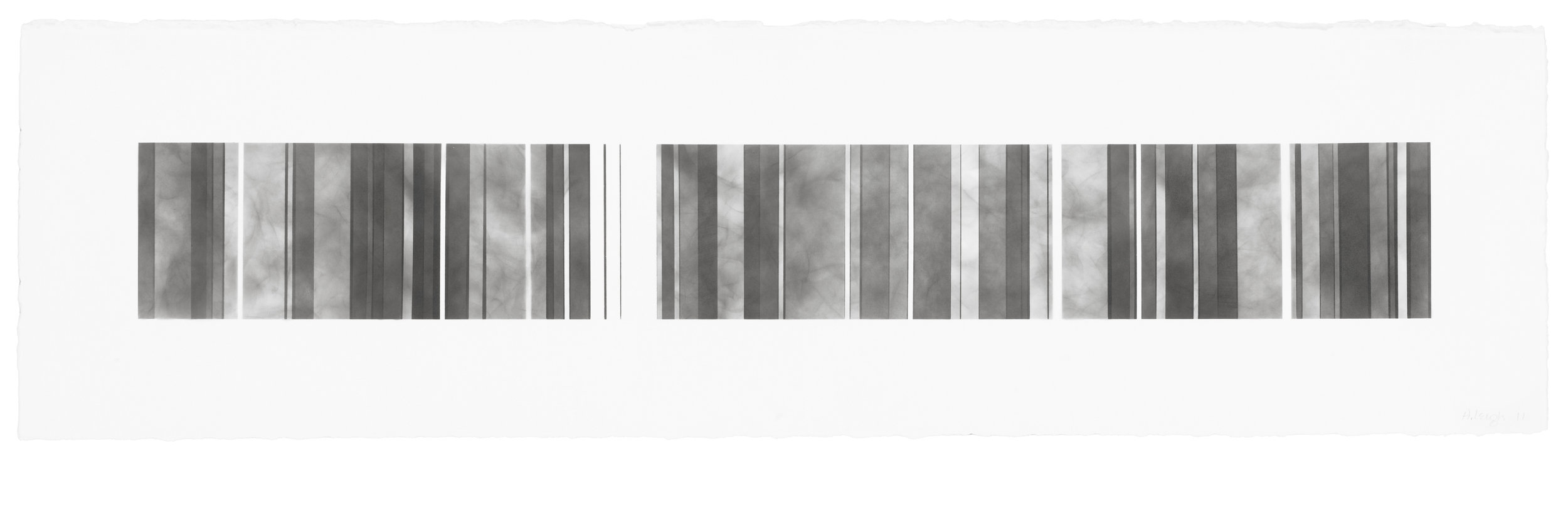 Barcode Series B 11, smoke on  paper, 11 by 40.5 inches, 2012