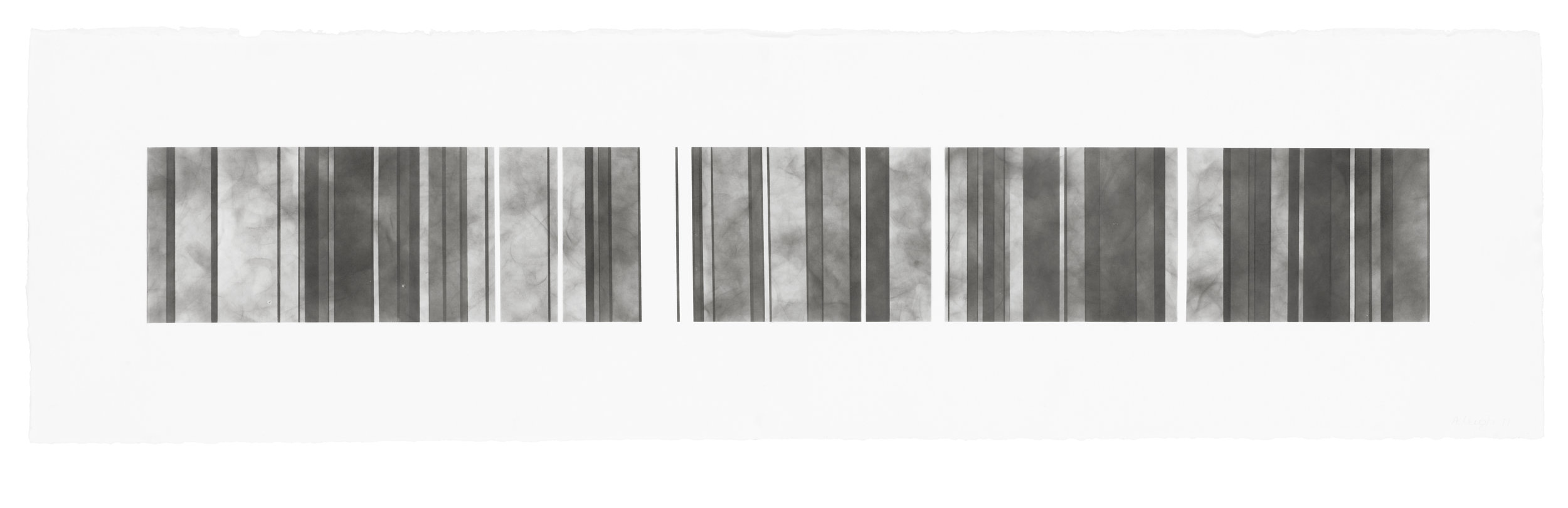 Barcode Series B 12, smoke on  paper, 11 by 40.5 inches, 2012