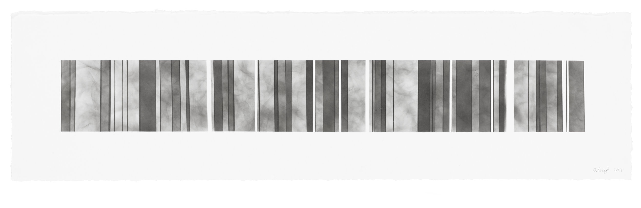 Barcode Series B 15, smoke on  paper, 11 by 40.5 inches, 2013
