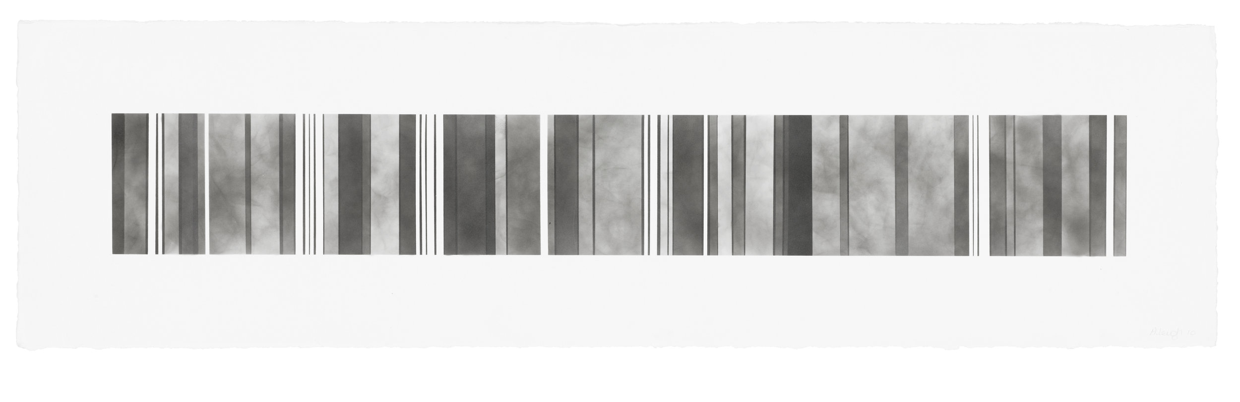 Barcode Series B 13, smoke on  paper, 11 by 40.5 inches, 2013