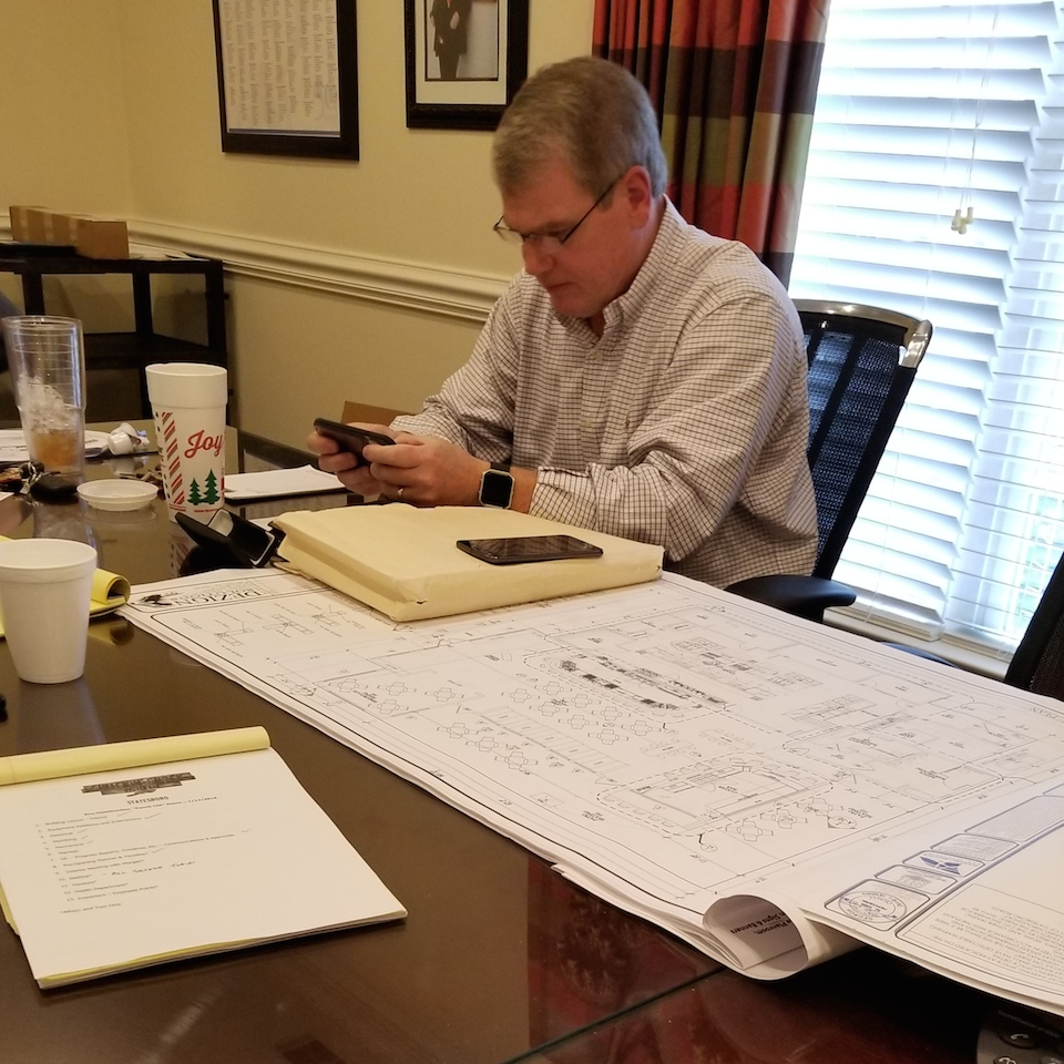 Our Statesboro franchisee meets with Shuckin' Shack leaders to revise blueprints just before groundbreaking on our first restaurant in Georgia!