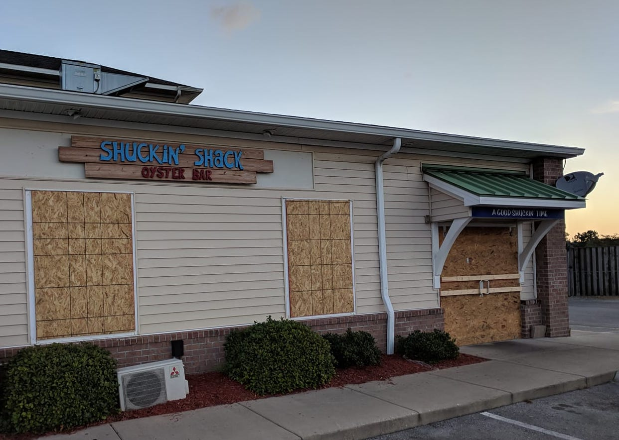 The Shuckin' Shack Oyster Bar in Surf City was prepared and will re-open later this week when power is restored.