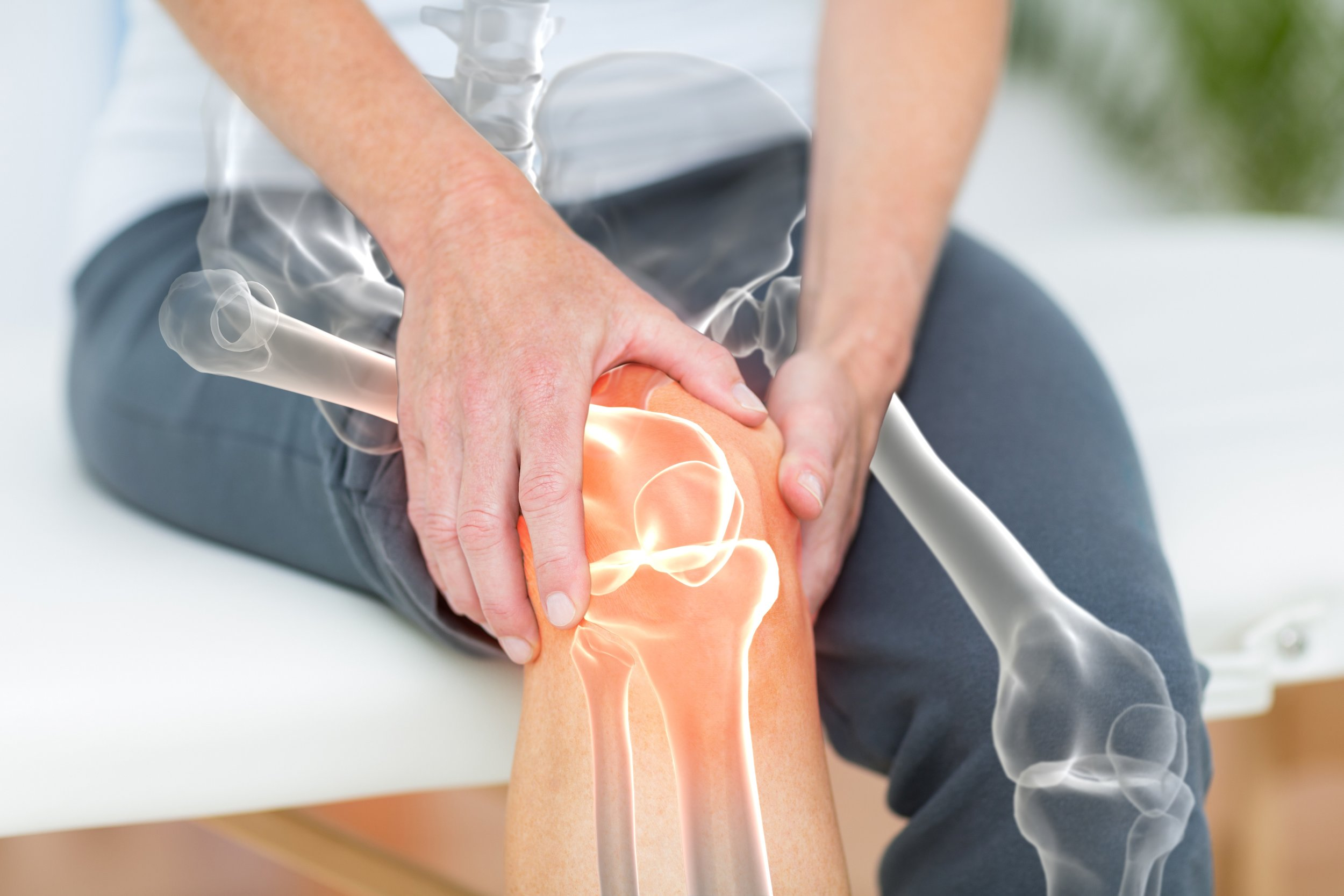 Copy of Mid section of man suffering with knee pain