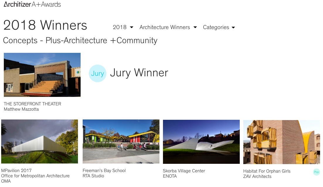 THE STOREFRONT THEATER wins Jury Winner of 2018 Architizer A+ Award for 'Architecture + Community' -