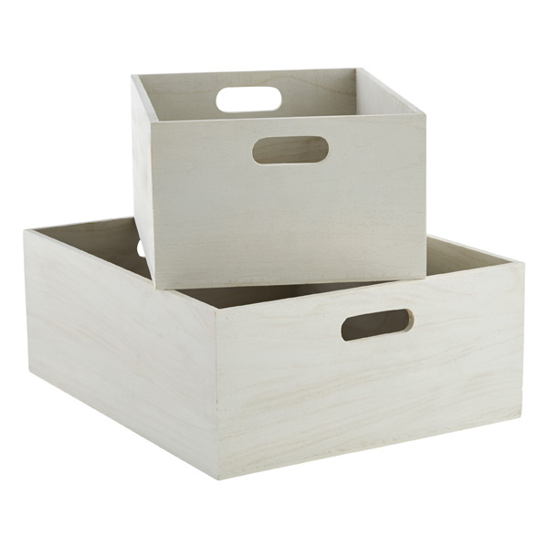 Container Store Whitewashed Bins