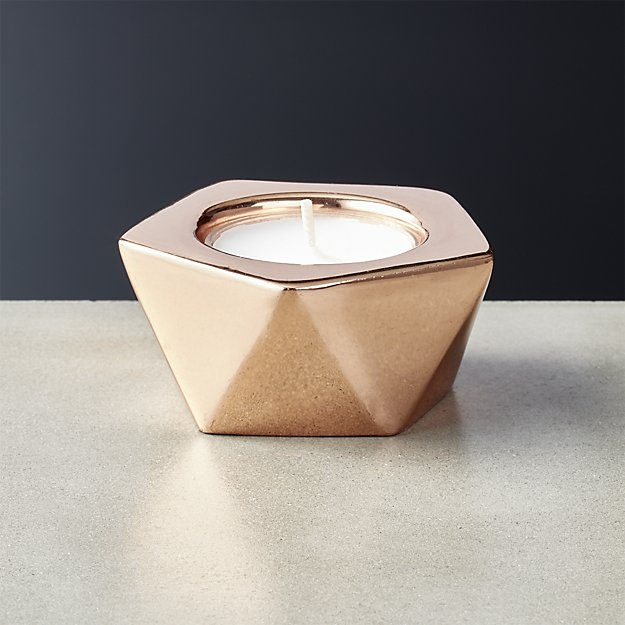 gami rose gold tea light candle holder