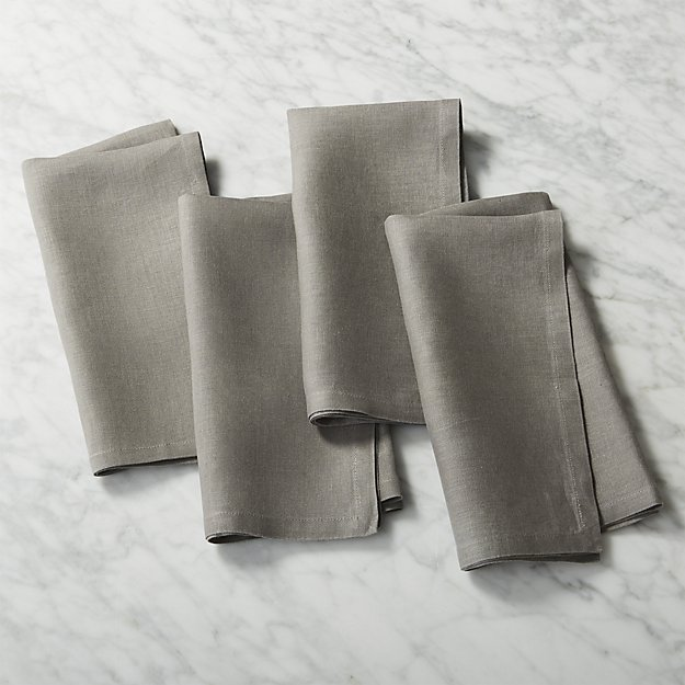 set of 4 bolt grey linen napkins