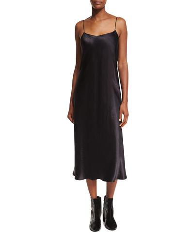 VinceSleeveless Silk Slip Midi Dress