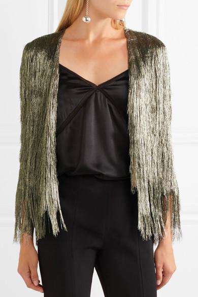 RACHEL ZOE   Isla metallic fringed jacket