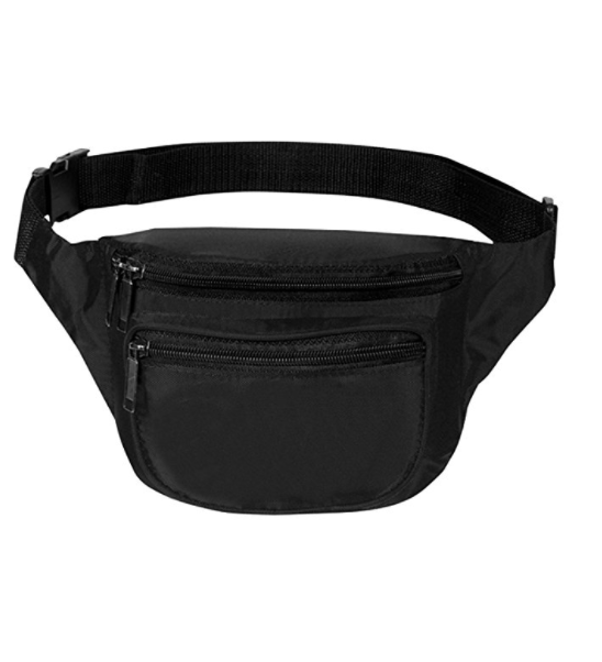 Fanny Pack, BuyAgain Quick Release Buckle Travel Sport Waist Fanny Pack Bag With 3 Zippered Compartments Fit Smart Cell Phone and Passport