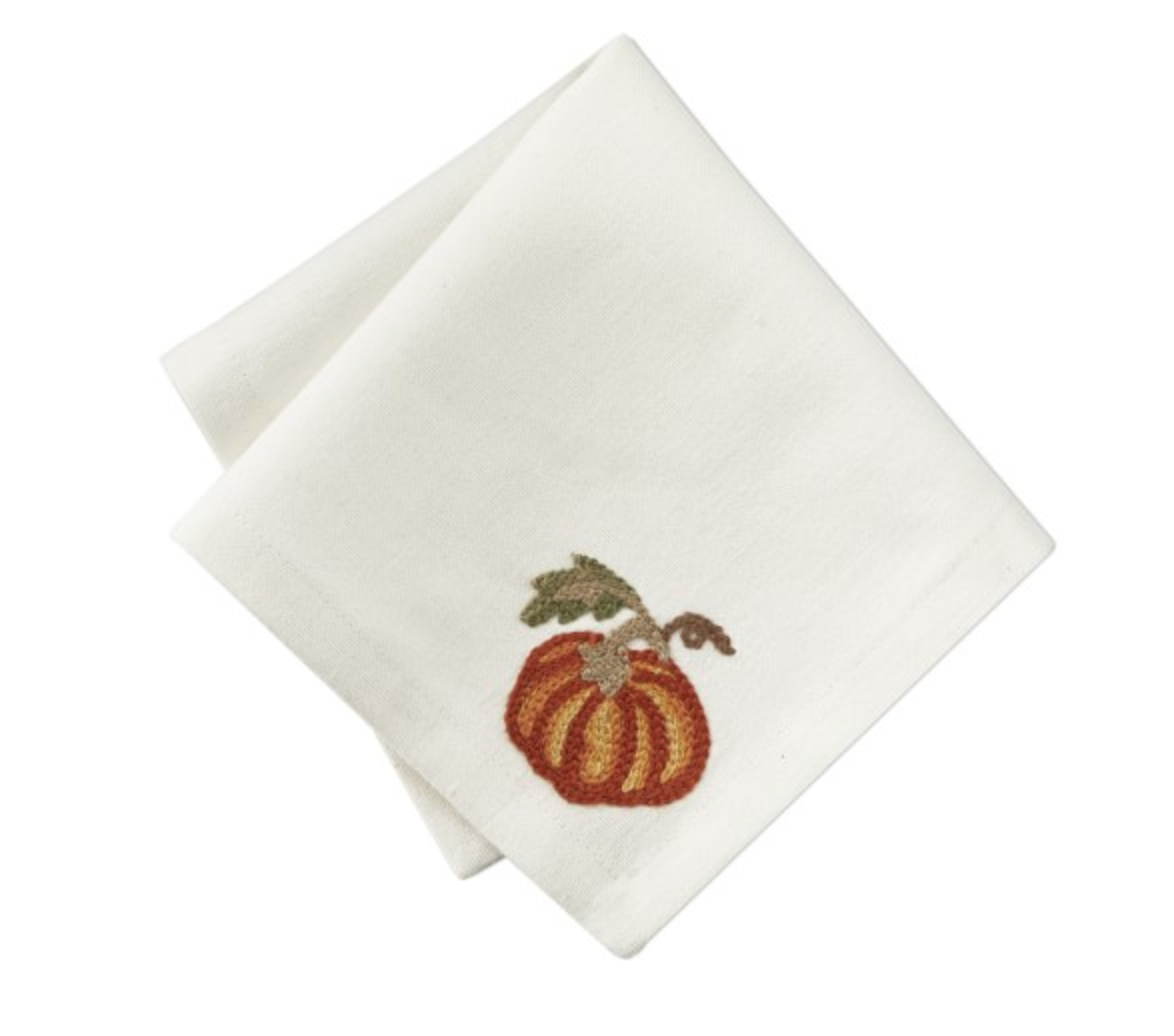 PUMPKIN EMBROIDERY COCKTAIL NAPKINS, SET OF 4