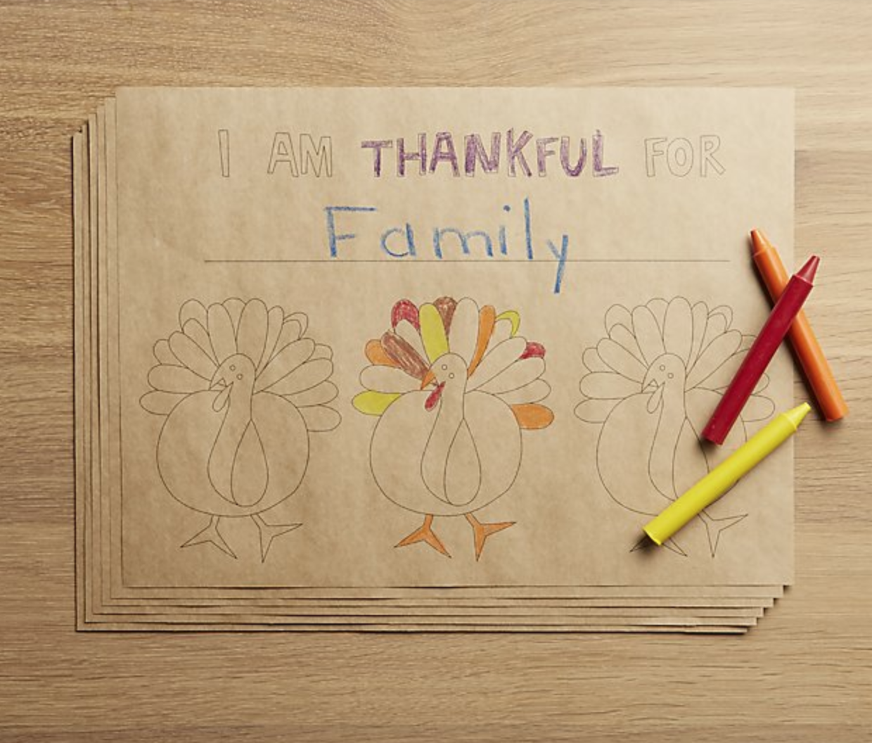 CHEERFUL TURKEY PAPER PLACEMATS, SET OF 12