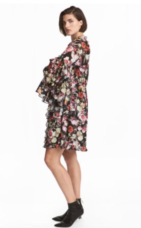 H&M Wide-cut Ruffle-trimmed Dress