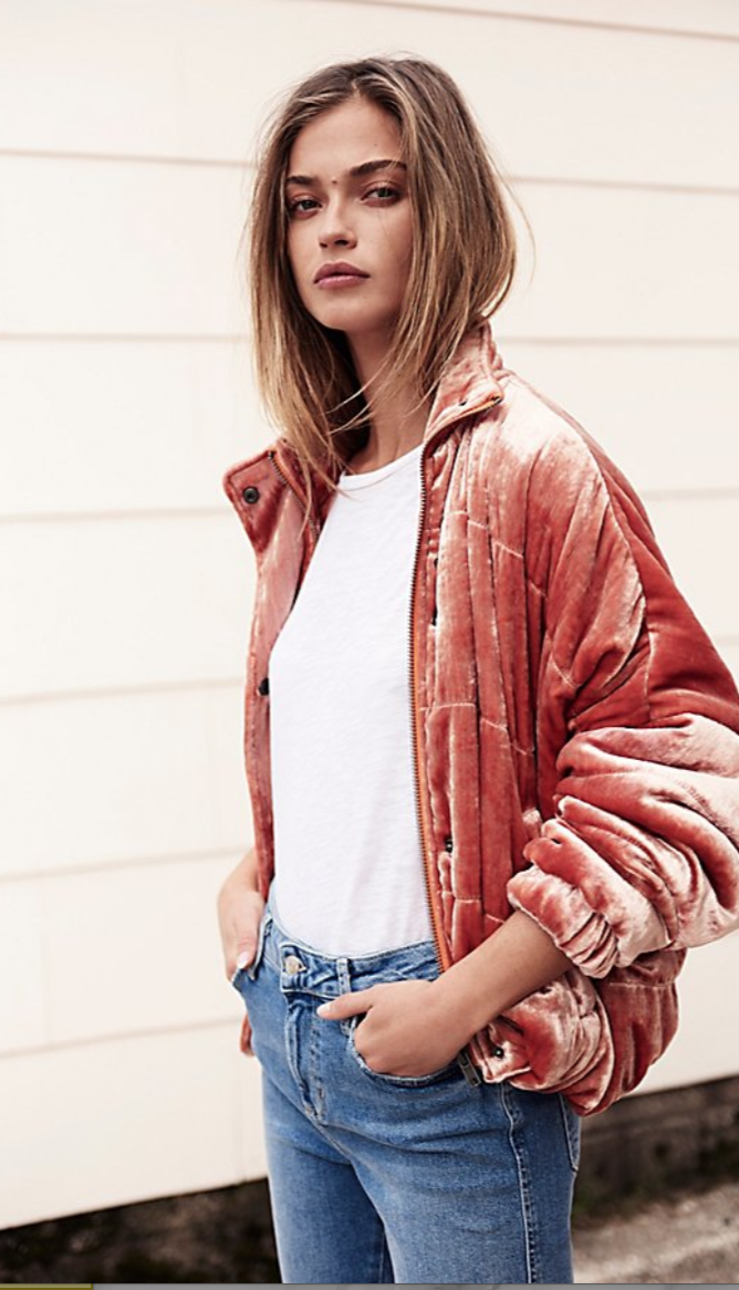 Free People Cropped Velvet Puffer