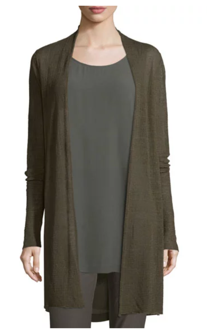 EILEEN FISHER SCOOP-NECK SILK GEORGETTE TUNIC AND MATCHING ITEMS