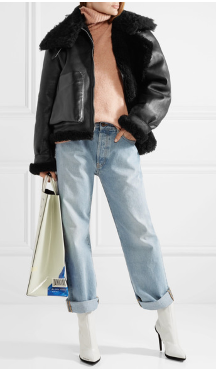 LORE SHEARLING-LINED LEATHER COAT