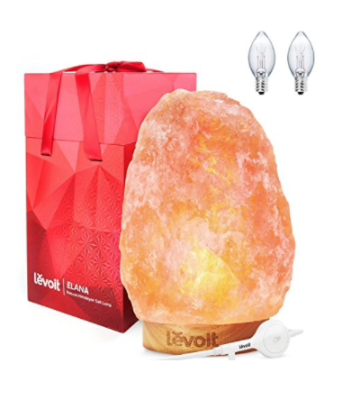 """LEVOIT ELANA HIMALAYAN SALT LAMP, NATURAL HIMILIAN HYMALAIN PINK SALT ROCK LAMPS(8-11 LBS,7.5-10""""HEIGHT),HYMILIAN SEA CRYSTALS NIGHT LIGHT WITH TOUCH DIMMER SWITCH,BEST CHRISTMAS DECORATIONS & GIFTS"""