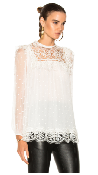 ZIMMERMANN MERIDIAN CIRCLE LACE TOP IN IVORY