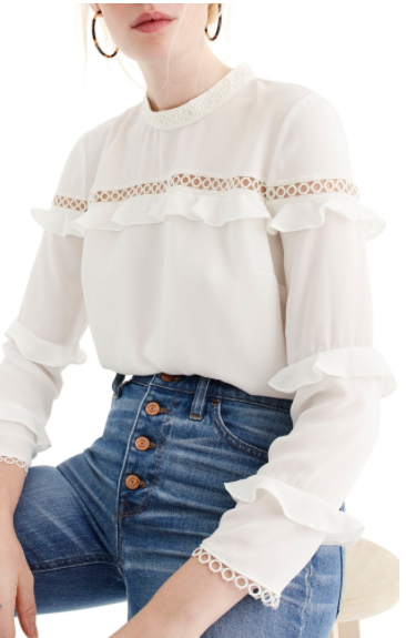 J.CREW TIERED RUFFLE TOP WITH SCALLOPED LACE TRIM