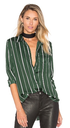 Revolve L'ACADEMIE THE CLASSIC BLOUSE IN GREEN STRIPE