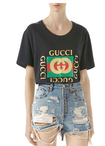 GUCCI SHREDDED BLEACHED DENIM SHORTS AND MATCHING ITEMS