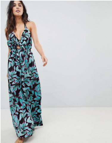 ASOS WOVEN TIE FRONT MAXI BEACH DRESS IN TROPICAL POP PRINT