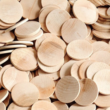 "PACKAGE OF 100 1.5"" ROUND DISC UNFINISHED WOOD CUTOUTS - READY TO BE PAINTED AND DECORATED"