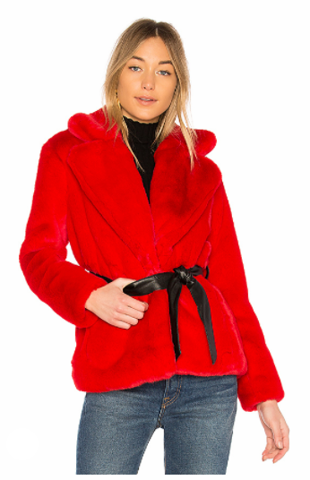 LOVERS + FRIENDS VALENTINE FAUX FUR COAT IN RED