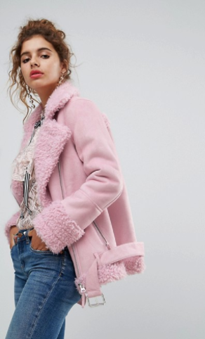 H! BY HENRY HOLLAND OVERSIZED FAUX SHEARLING JACKET