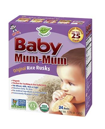 HOT-KID BABY MUM-MUM RICE RUSKS, ORGANIC ORIGINAL, 24 PIECES, (PACK OF 6)