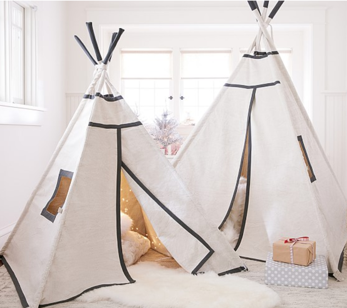 TAN WITH CHARCOAL TRIM MINI TEEPEE