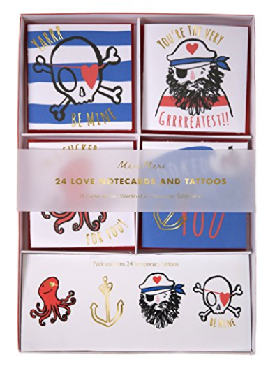 MERI MERI 45-2590 VALENTINE PIRATE TATTOO CARD SET, SET OF 24 CARDS WITH TATTOOS