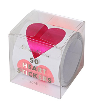 MERI MERI HEART STICKER ROLL, 45-2592, 50 STICKERS