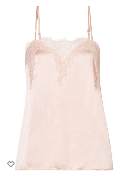 CAMI NYC - SWEETHEART LACE-TRIMMED SILK-CHARMEUSE CAMISOLE - PASTEL PINK