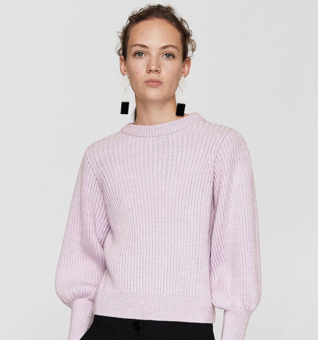 PUFFED SLEEVES RIBBED JUMPER - WOMEN