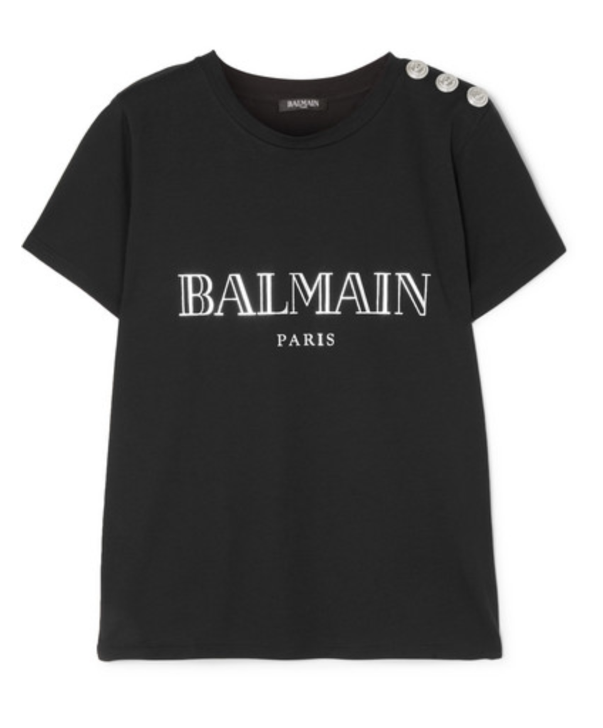 BUTTON-EMBELLISHED PRINTED COTTON-JERSEY T-SHIRT