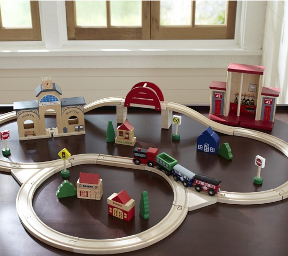 WOODEN TRAIN SET | POTTERY BARN KIDS