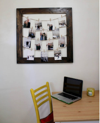 RUSTIC CLOTHESPIN PICTURE FRAME / PHOTO DISPLAY - WEDDING DISPLAY - CLOTHESLINE COLLAGE - INCLUDES L